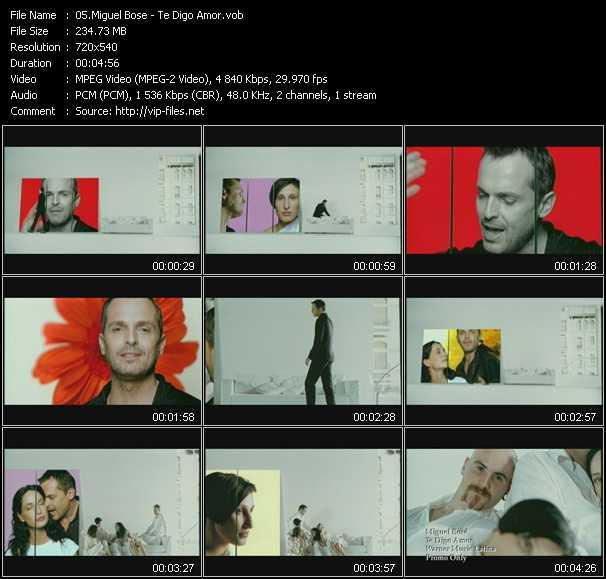 Miguel Bose video Te Digo Amor